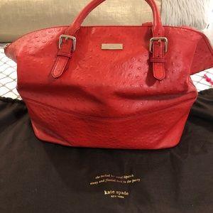 Kate Spade red ostrich bag